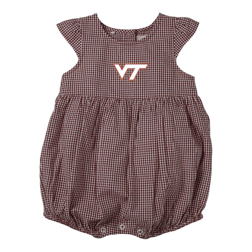 Virginia Tech Infant Jillian  Gingham Ruffle Onesie