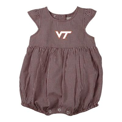 Virginia Tech Infant Jillian Gingham Ruffle Onesie
