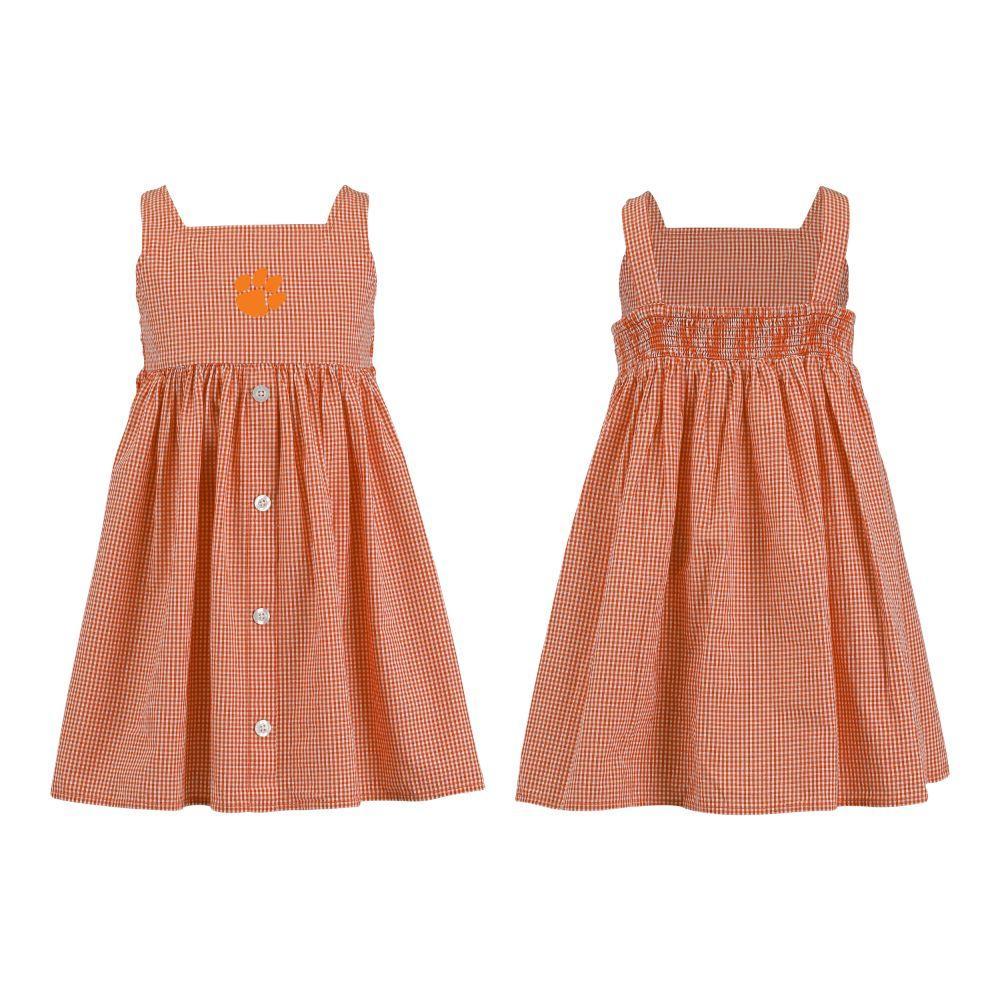 Clemson Toddler Jillian  Gingham Ruffle Dress