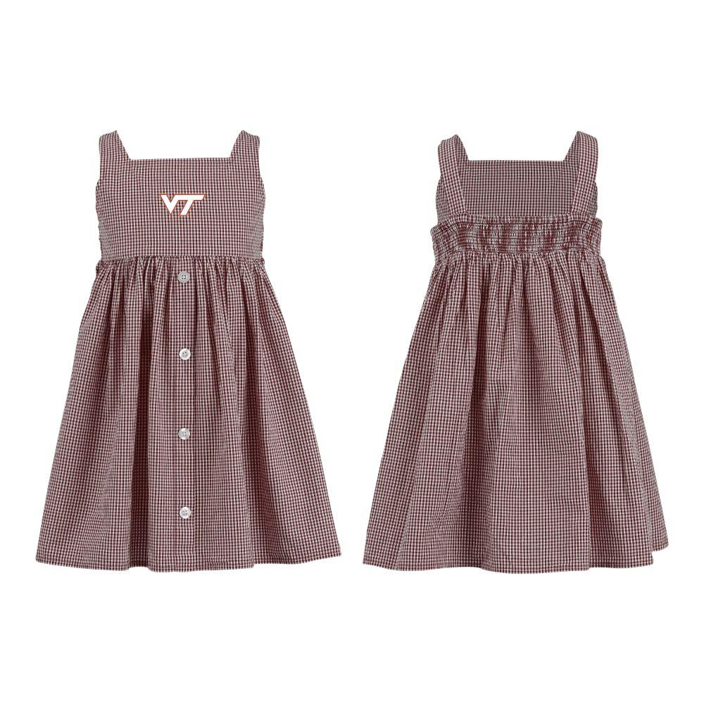 Virginia Tech Toddler Jillian  Gingham Ruffle Dress