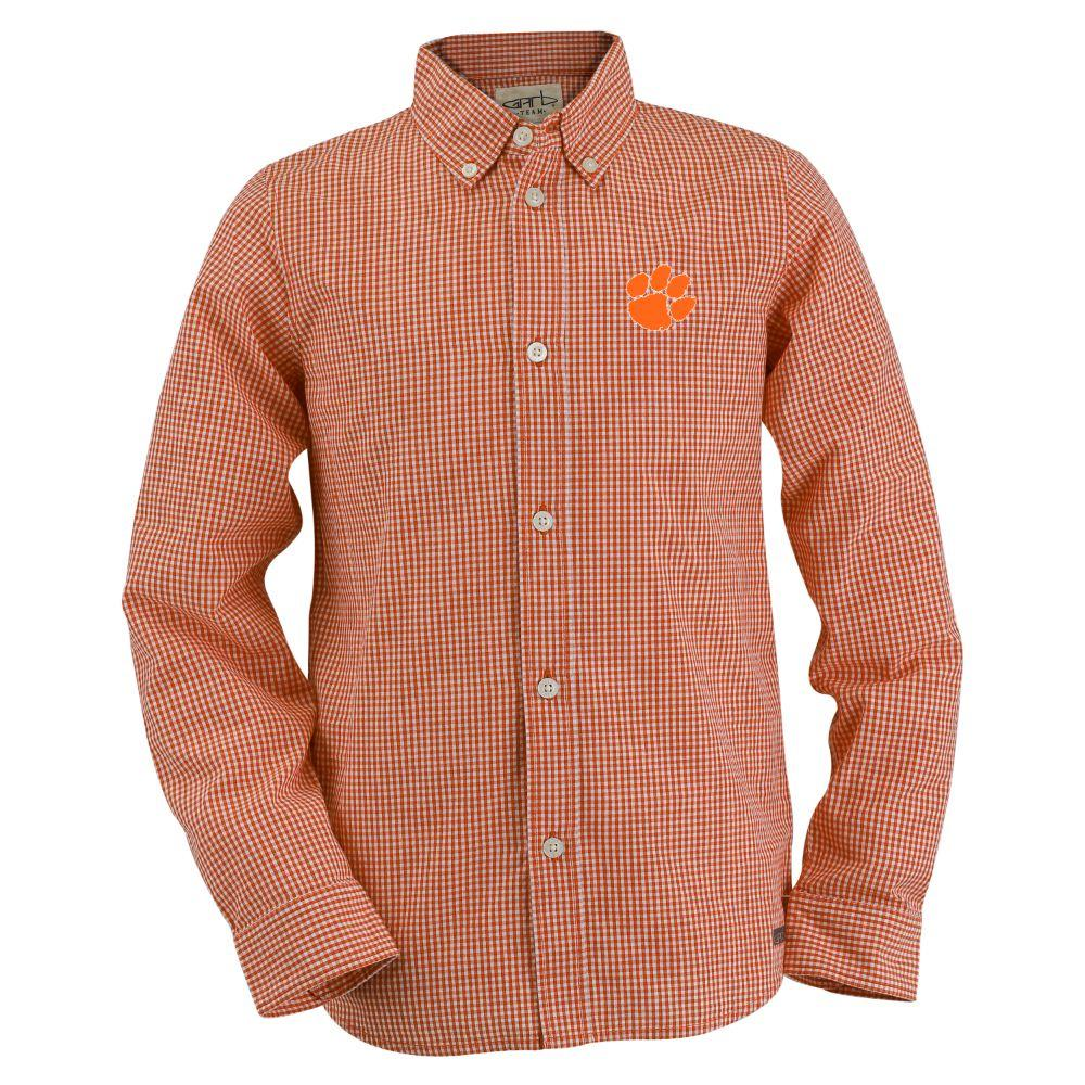 Clemson Toddler Gingham Long Sleeve Woven Button Down