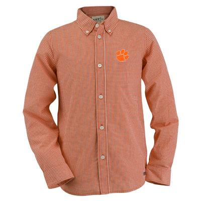 Clemson Youth Gingham Long Sleeve Woven Button Down