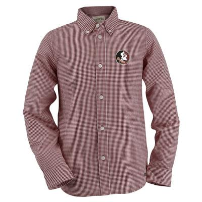 Florida State Youth Gingham Long Sleeve Woven Button Down