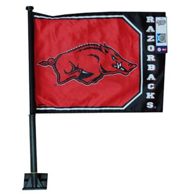 Arkansas Jenkins Hog with Razorbacks Car Flag