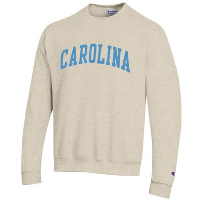 UNC Champion Arch Logo Oatmeal Fleece Crew