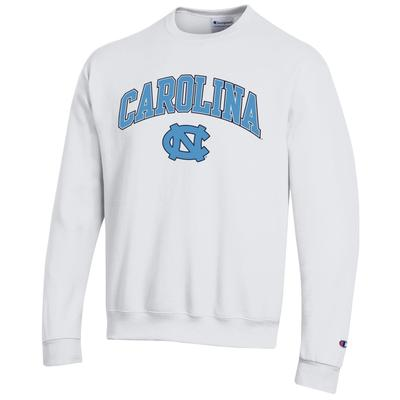 UNC Champion Arch Logo Fleece Crew WHITE