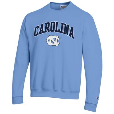 UNC Champion Arch Logo Light Blue Fleece Crew