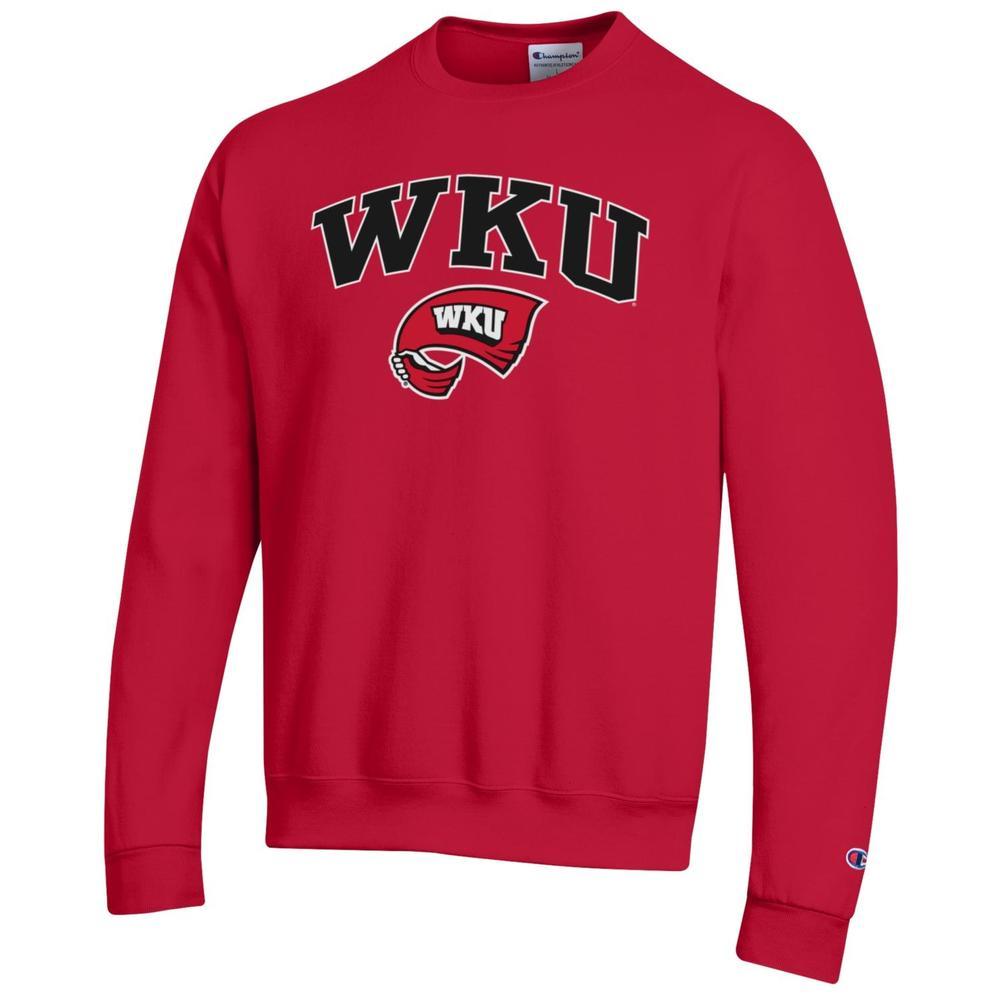 Western Kentucky Arch Logo Red Fleece Crew