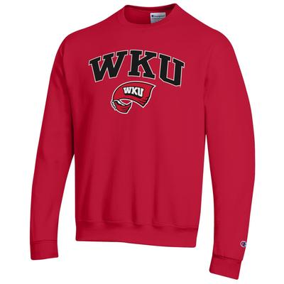 Western Kentucky Arch Logo Red Fleece Crew