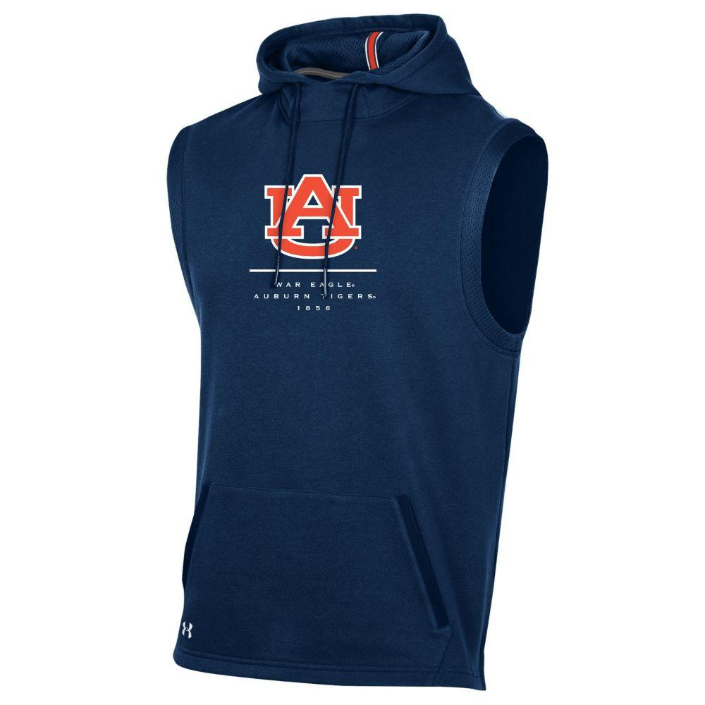 Auburn Under Armour Men's Sleeveless Campus Hooded Fleece Pullover