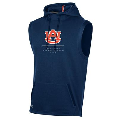 Auburn Under Armour Men's Sleeveless Campus Hooded Fleece Pullover