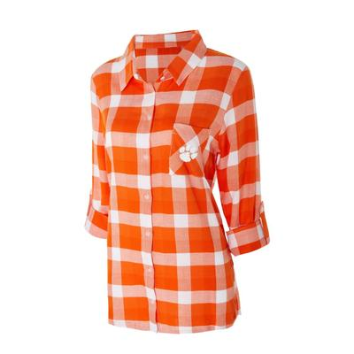 Clemson Women's Long Sleeve Flannel Nightshirt