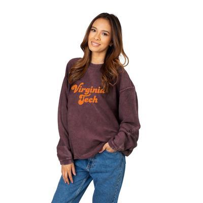 Virginia Tech Chicka-D Women's Vintage Script Corded Sweatshirt