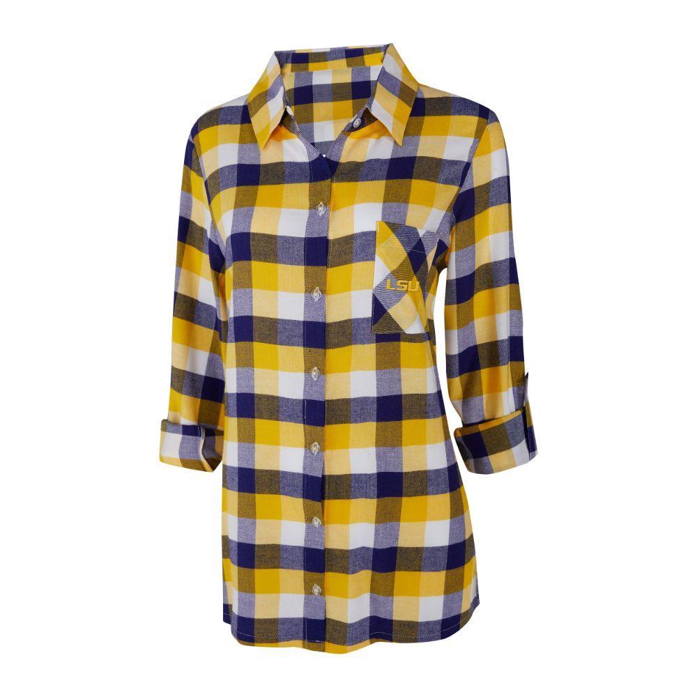 Lsu Women's Long Sleeve Flannel Nightshirt