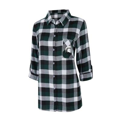 Michigan State Women's Long Sleeve Flannel Nightshirt