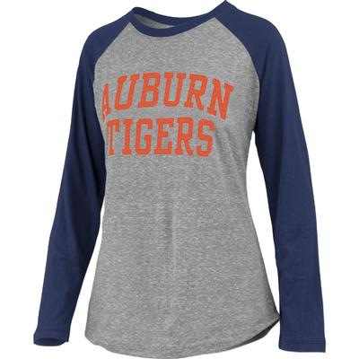 Auburn Pressbox Bentley Applique Long Sleeve Baseball Tee