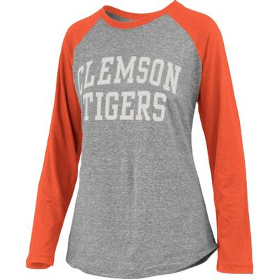 Clemson Pressbox Bentley Applique Long Sleeve Baseball Tee