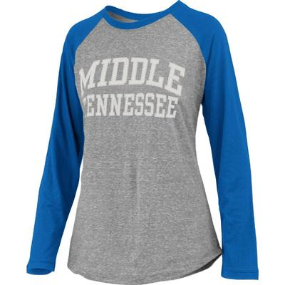 MTSU Pressbox Bentley Applique Long Sleeve Baseball Tee