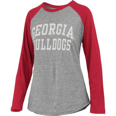 Georgia Pressbox Bentley Applique Long Sleeve Baseball Tee
