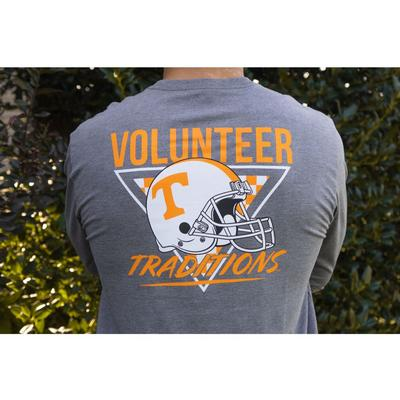 Tennessee Volunteer Traditions Heather 90's Power T Helmet Long Sleeve Tee Shirt