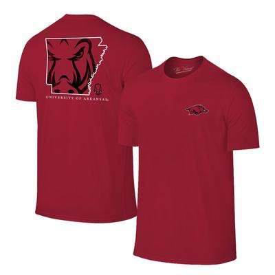 Arkansas Razorbacks Mascot State Fill Short Sleeve Tee