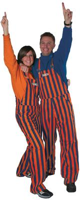 Orange and Navy Adult Game Bibs Striped Overalls