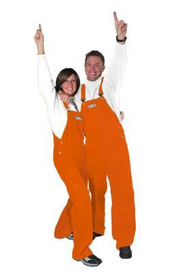 Adult Game Bibs Solid Orange Overalls
