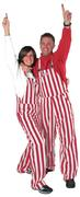 Crimson And White Adult Game Bibs Striped Overalls