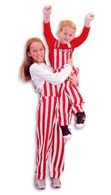 Crimson and White Youth Game Bibs Striped Overalls