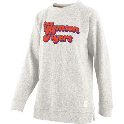 Clemson Retro Angie Chenille Comfy Terry Crew Sweatshirt