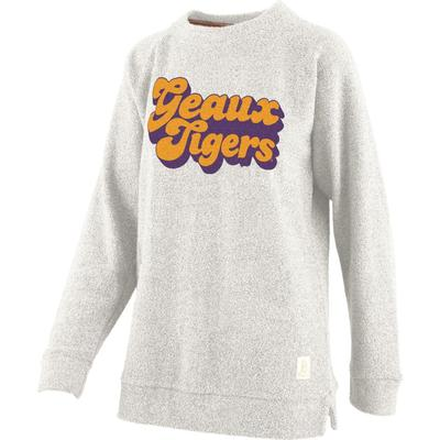LSU Retro Angie Chenille Comfy Terry Crew Sweater
