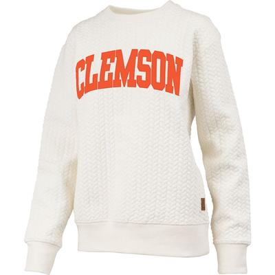 Clemson Banner Elk Cable Knit Crew Sweater