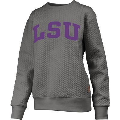 LSU Banner Elk Cable Knit Crew Sweatshirt