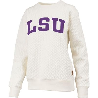 LSU Banner Elk Cable Knit Crew Sweatshirt