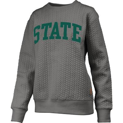 Michigan State Banner Elk Cable Knit Crew Sweater HTHR_GREY