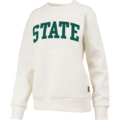 Michigan State Banner Elk Cable Knit Crew Sweater IVORY