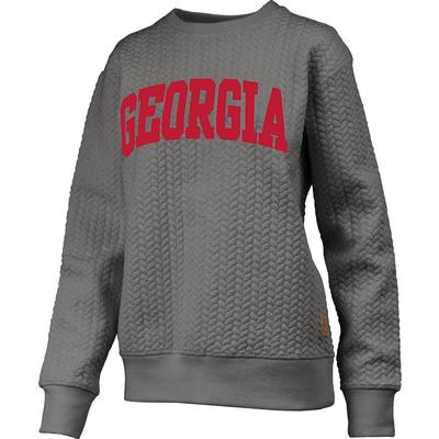 Georgia Banner Elk Cable Knit Crew Sweater HTHR_GREY
