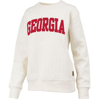 Georgia Banner Elk Cable Knit Crew Sweater IVORY