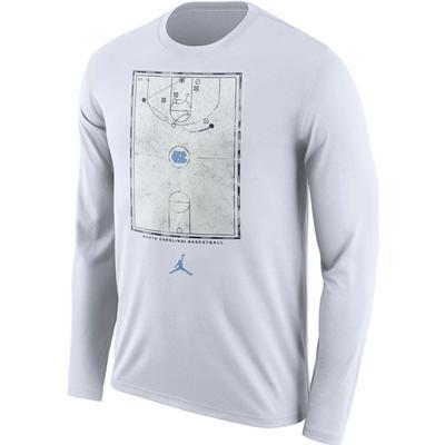 UNC Jordan Brand Men's Basketball Court Long Sleeve Shirt