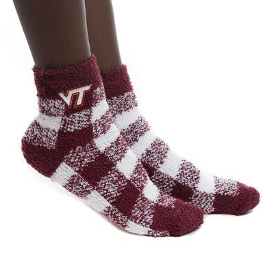 Virginia Tech Buffalo Check Fuzzy Socks