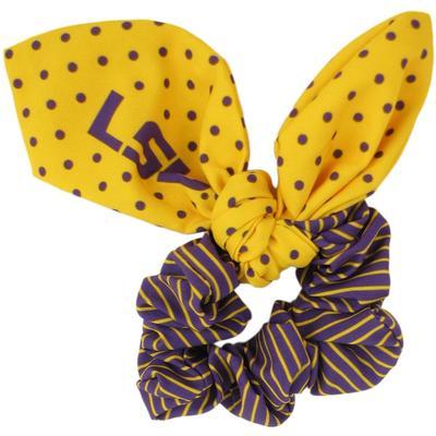 LSU Zoozatz Polka Dot Scrunchie with Bow