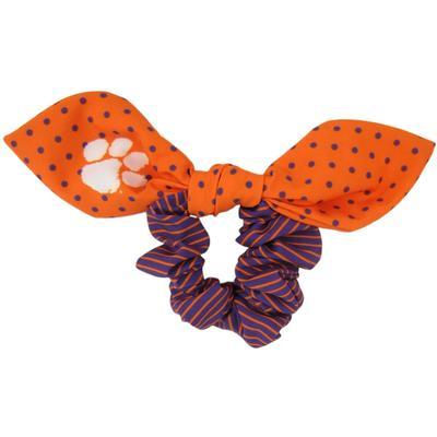 Clemson Zoozatz Polka Dot Scrunchie with Bow