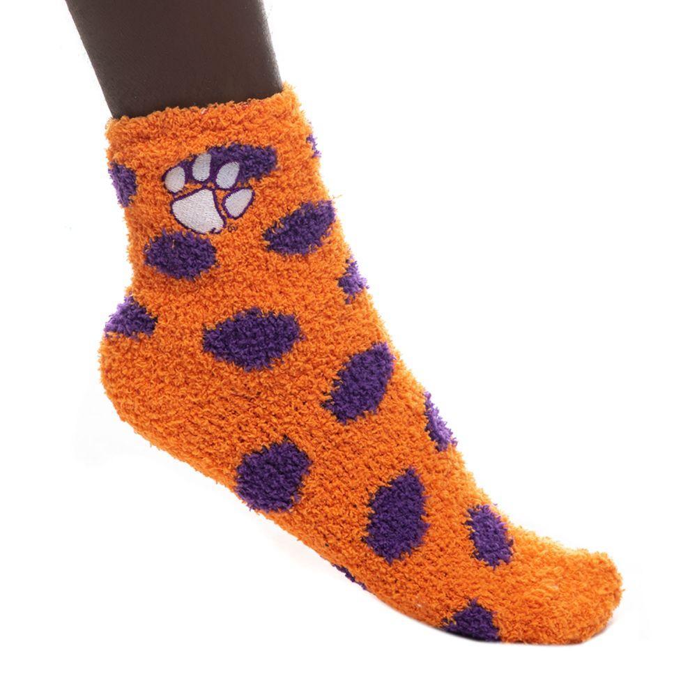 Clemson Zoozatz Reverse Fuzzy Dot Socks