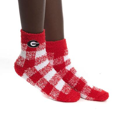 Georgia Zoozatz Fuzzy Buffalo Check Socks