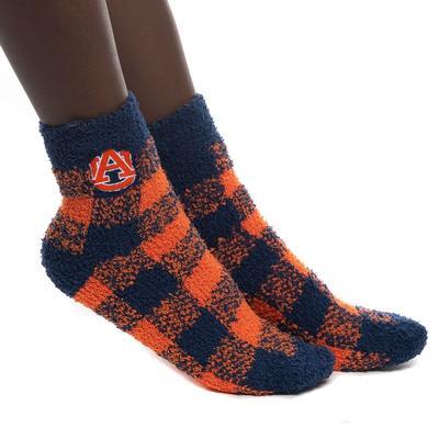 Auburn Zoozatz Fuzzy Buffalo Check Socks