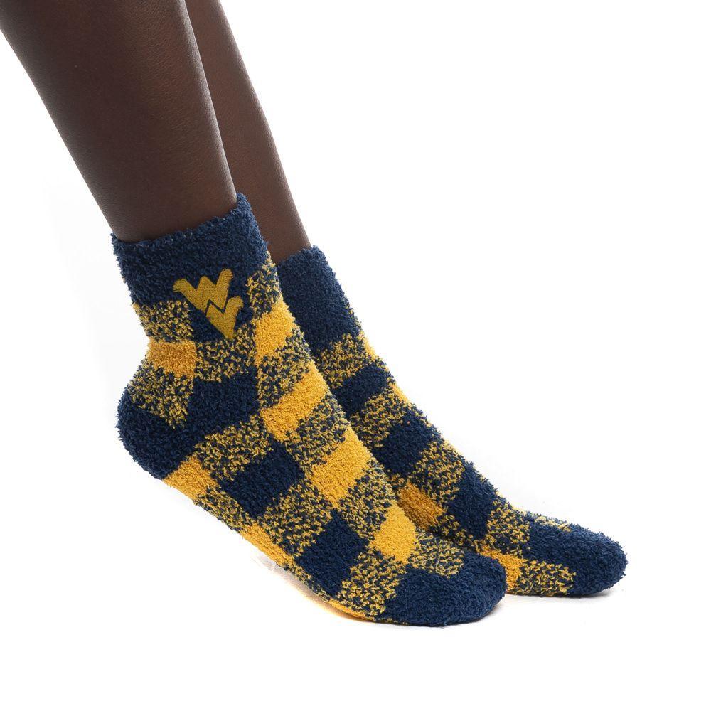 West Virginia Zoozatz Fuzzy Buffalo Check Socks