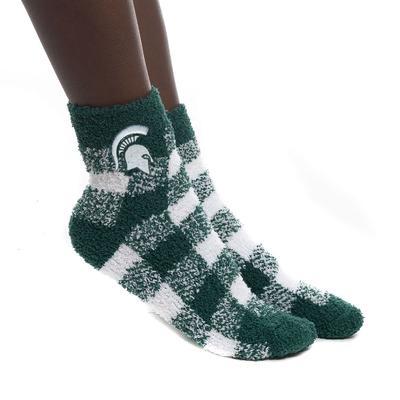 Michigan State Zoozatz Fuzzy Buffalo Check Socks