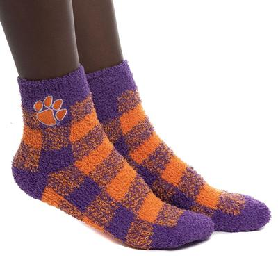 Clemson Zoozatz Fuzzy Buffalo Check Socks