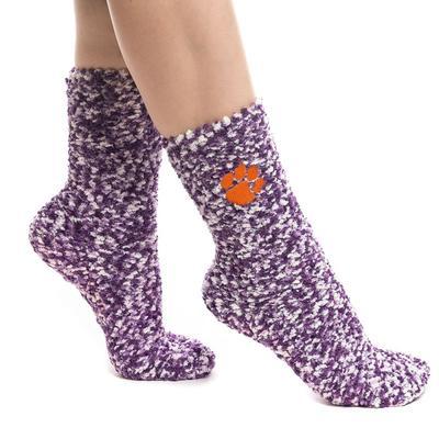 Clemson Zoozatz Marled Fuzzy Grip Socks