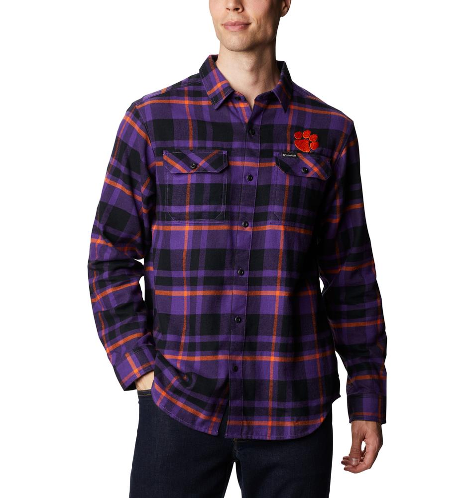 Clemson Columbia Men's Flare Gun Flannel Plaid Long Sleeve Shirt